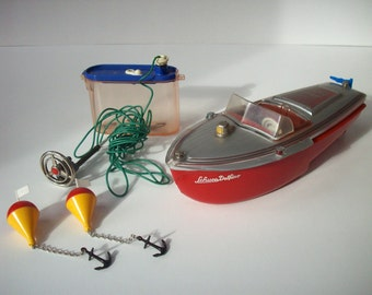 Vintage Toy Boat / Schuco Elektro Delfino 5411 Navico / Original Box and Instructions / Complete Set / Made in US Zone Germany / 1950s