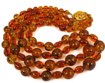 Vintage Warm Brown Art Glass Double Strand Beaded Necklace with Gold Clasp