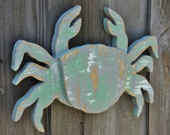Crab Lover, Crab Decor, Small Crab, Coastal Gift, Coastal Living Room, Coastal Wall Art, Wall Art, Wood Crab, Nautical Decor, Beach Art