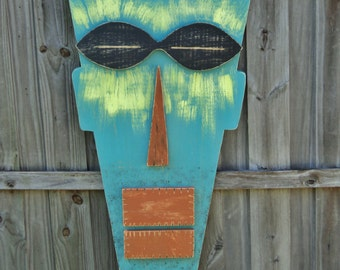 Large 4' Tiki Mask, Primitive Wall Hanging, Tiki Man, Wood Sculpture, Rustic Beach House Decor