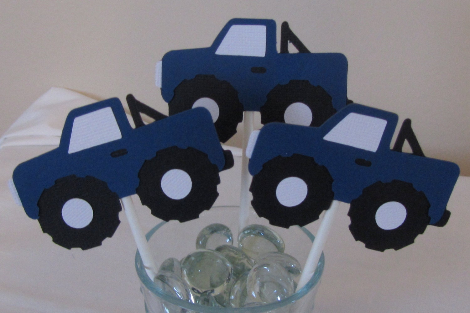 12 Blue Monster Truck Cupcake Toppers by scraptags on Etsy