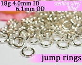 18g 4.0mm ID 6.1mm OD silver filled jump rings -- 18g4.00 open jumprings jewelring findings supplies links