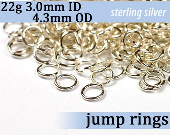 22g 3.0mm ID 4.3mm OD sterling silver 925 jump rings -- open jumprings