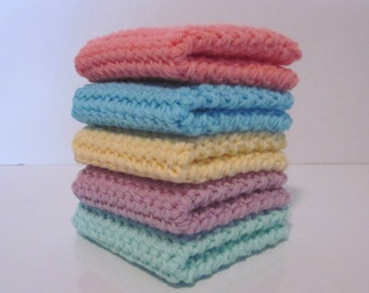 Crochet Wash Cloth, Dish Cloth, Set of 5