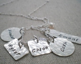 5 kids name mothers necklace | children's name necklace | five kids names stamped necklace | grandmother jewelry | push present gift for her