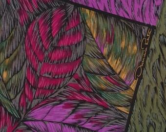 Fine Oscar Silk Scarf leaves violet gold burgundy