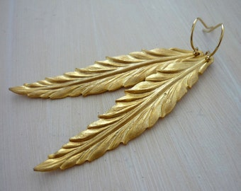 Frosted gold feather drop earrings