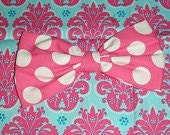 large pink or  red  polka dot bow app. 7 X 4 Minnie mouse dress up disney clothing