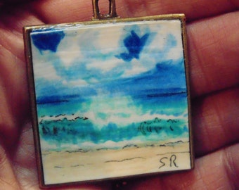 Mini Ocean original painting OOAK Pendant