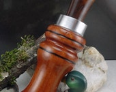 Short Reed goose Call  in Mahogany  And Walnut Burl With a Chrome Band#229