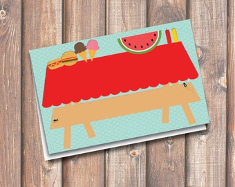 "Picnic Place Cards Cute Picnic Table Printable Food Tags or Placecards 3.5 x 2.25"" Tent-Style - INSTANT DOWNLOAD"