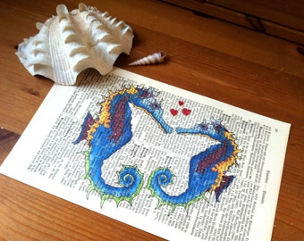 Seahorse Sweet Love Valentine Anniversary Engagement Wedding Gift Personalized Art Print on Antique 1896 Dictionary Book Page