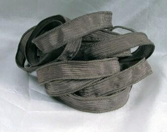 Hand Dyed Silk Ribbons - Crinkle Silk Jewelry Bracelet Fairy Ribbon - Quintessence - Beach Stone