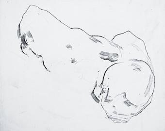 "Minimal Male Figure Painting, original fine art abstract figurative art - 30 x 25"" - large canvas by Derek Overfield"