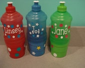Personalized Water Bottles BPA free with Pop-Up top and Snack Holder GREAT for parties