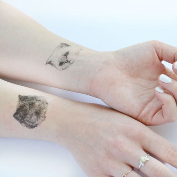 temporary tattoos - set of 7 fake cat tatts - cats - pussycat - kitten - kitty - cattoos
