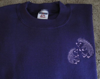 "Hedgehog Themed (""SUPER SWEATS"") Purple Sweatshirt with ruffled cuffs - Large"
