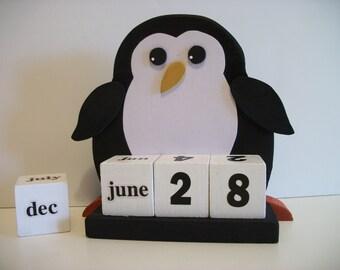 Penguin Calendar Perpetual Wood Block Penguin Decor Black White