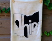 Flour Sack Tea Towel, Dish Towel, Kitchen, State of Ohio