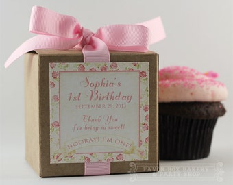 SHABBY PINK ROSES... One Dozen Personalized Cupcake Mix Party Favors