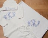 Baby Boys Monogrammed Gown, Hat and Blanket Set, New Baby Layette Set, Infant Boys Coming Home Gift Set