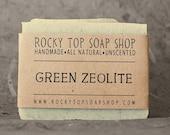 Green Zeolite Soap -  All Natural Soap, Handmade Soap, Unscented Soap, Cold Process Soap, Vegan Soap