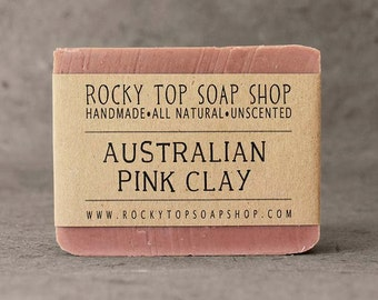 Australian Pink Clay -  All Natural Soap, Unscented Soap, Sensitive Skin Soap, Mature Skin Soap, Vegan Soap