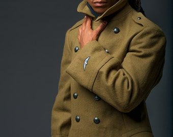 1970's NEVER WORN Romanian Army MILITARY Style Vintage Wool Overcoat / Coat