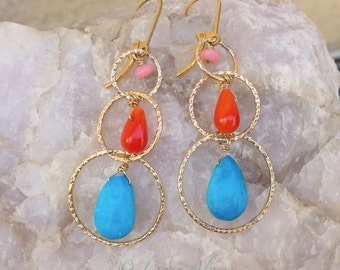 Peach orange bamboo coral, turquoise, and yellow gold hoop chandelier earrings