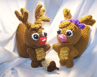 Crochet Sammy and Eve squirrels with acorn Can be made to rattle