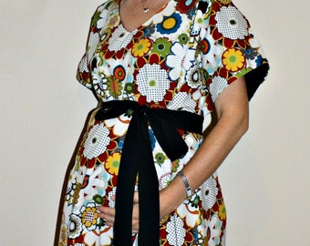 Tamara Maternity Hospital Gown in Maroon Black Green Blue and Gold Flowers - by Mommy Moxie on Etsy - Deliver in Style