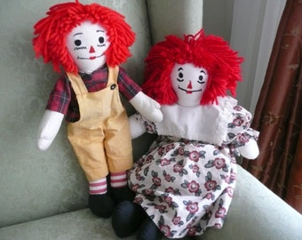CLEARANCE- Handmade Raggedy Ann and Andy Dolls - Stuffed Toy