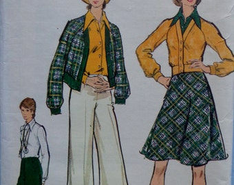 70s High Waist Pants Bias Skirt Pattern Vogue 8475 Bust 34 Raglan Sleeve Blouson Jacket V Neck UNCUT