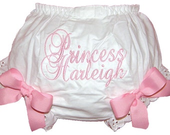 Personalized Script Princess Baby Girl Bloomers, Diaper Cover, Panties