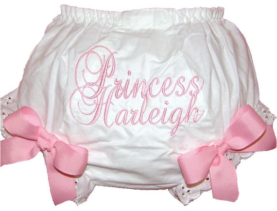 Personalized Script Princess Baby Girl Bloomers, Diaper Cover, Panties