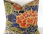 Decorative designer Pillow Cover / Zen Garden / Porcelain / Waverly / Indigo Blue / Celedon Green / Spiced Orange