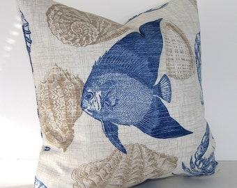 Indoor / Outdoor Designer Pillow Cover - Shellfish - Octopus - Crabs - Fish - Sea Creatures - Blue - Khaki - Ivory