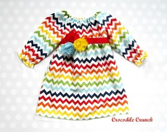 Girls Rainbow Chevron Dress -  Baby Girl Rainbow Dress - Candyland Dress - Rainbow Dress - Candyland Party - Rainbow Party - Girls Dresses