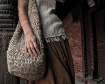 Hemp Shoulder Bag Earthy  Natural Eco friendly Tribal