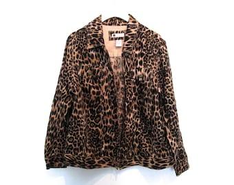 90's Leopard Print Linen Cropped Coat size - XL/L