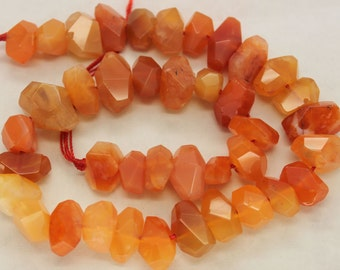 Natural Red Carnelian Freeform Faceted  Beads 16 Inch Strand