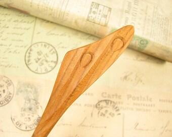 Peach Wood Hair Stick - Wing in Rain