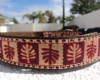 """Sale Dog Collar Autumn Leaves 1"""" width adjustable side release buckle / martingale style is cost upgrade"""