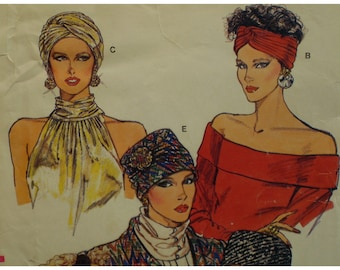 """80s Turban and Hats Pattern, Cloche, Wrap Style, Pillbox Hat, Self-Lined, Pleated, Vogue No. 9665 UNCUT Size 21-24"""" (53-61cm) Head"""