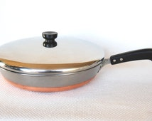 Vintage Revere Ware Copper Clad Stainless Steel 12 inch Covered Skillet Pre-Patent 1938-1946 Mark Rome N.Y. This is a very LARGE Pan
