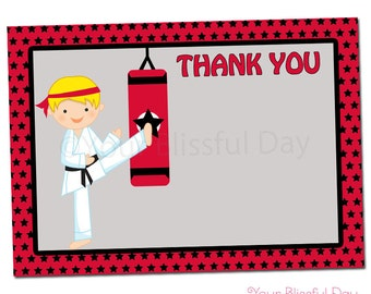 PRINTABLE Boy Karate Party Thank You Cards (Character of your choice) #543