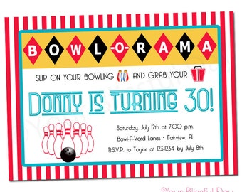 PRINTABLE Retro Bowling Party Invitation #112