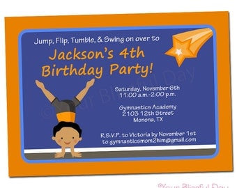 PRINTABLE Boy Gymnast Party Invitations (Character of your choice) #538