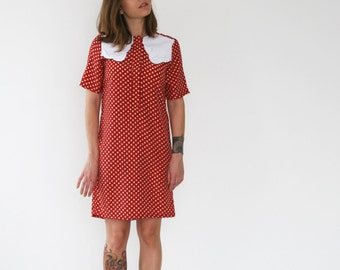 Clearance sale/ Red with beige polka dots dress, Scallop collar dress, Shift dress