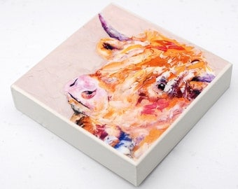 Highland Cow: colourful woodblock made from an oil painting by Sally Fisher